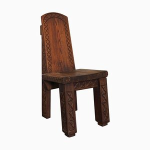 French Solid Oak Wood Chair by Rene Meriguet, 1974