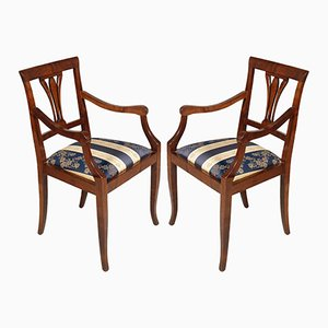 Art Deco Armchairs in Solid Walnut and Burr Walnut, Set of 2