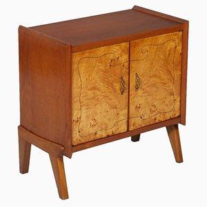 Mobiletto Mid-Century in legno di noce con intarsi in radica di legno di betulla