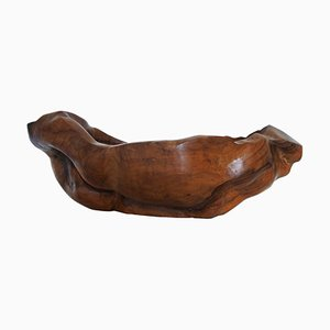 French Free-Form Wood Bowl by Oury, 1968