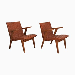 Leather Webbing & Oak Lounge Chairs by Jens Risom for Knoll International, 1950s, Set of 2