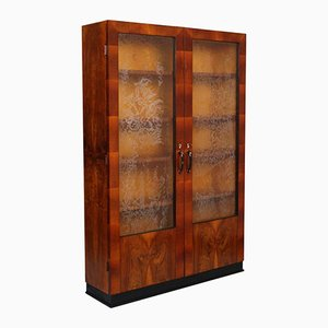 Art Deco Italian Showcase Cabinet in Walnut & Burl Walnut