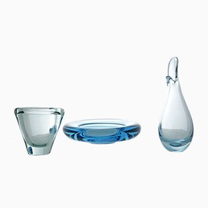 Vintage Glass Akva Ashtray, Duckling Vase & Umanak Vase by Per Lütken for Holmegaard