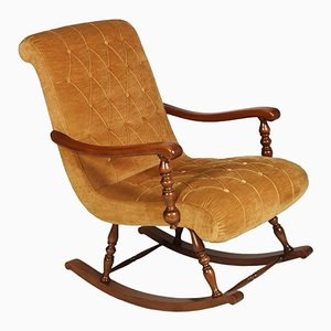 Mid-Century Italian Rocking Chair in Walnut & Velvet Capitonnè