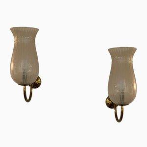 Applique in ottone e vetro zanfirico di Venini, anni '50, set di 2