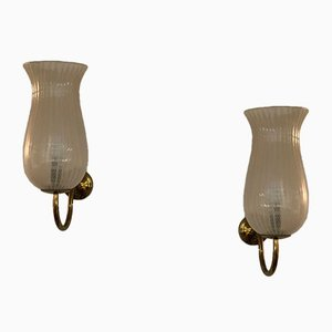 Brass & Zanfirico Glass Sconces from Venini, 1950s, Set of 2