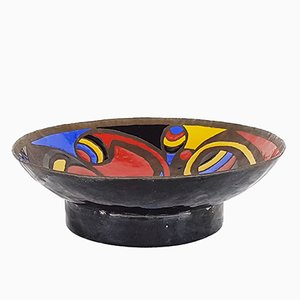 Multi-Colored Enameled Bronze Bowl by Marè, 1972