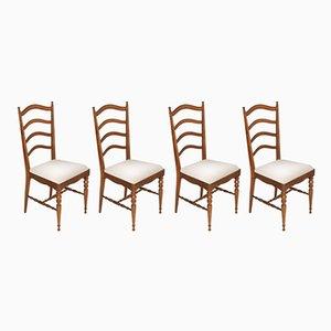 Chaises de Salle à Manger Chiavari Mid-Century en Noyer Blond par Giuseppe Gaetano Descalzi, Set de 4