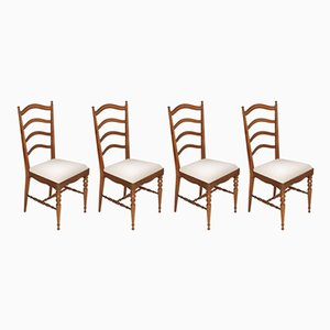 Mid-Century Chiavari Dining Chairs in Blond Walnut by Giuseppe Gaetano Descalzi, Set of 4