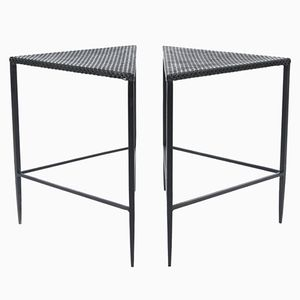 Black-Enameled Iron Side Tables, 1950s, Set of 2