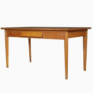 Mid-Century Modern Beech Table with Drawer & Formica Top