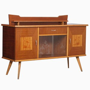 Mid-Century Buffet in Beech, Rosewood, and Inlaid Maple