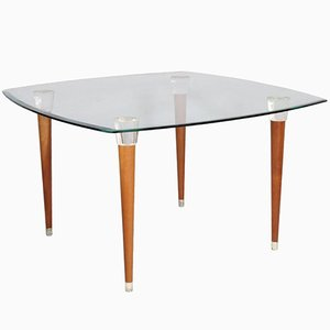 Mid-Century Table in Walnut with Glass Top, Turned Legs, & Heads Murano Glass