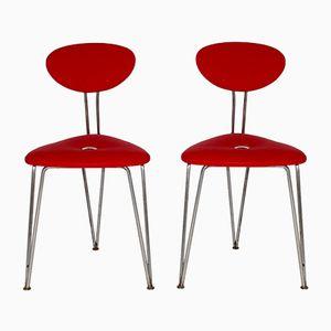 Rote Mid-Century Kirschholz Stühle von Günter Talosch, 2er Set