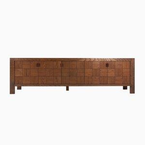 Credenza brutalista vintage grande de madera teñida