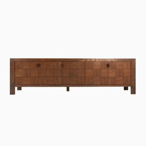 Large Vintage Brutalist Credenza in Stained Oak
