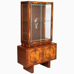 Art Deco Vitrine Cupboard in Burl Walnut from Meroni & Fossati