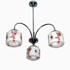 Art Deco Chandelier with Spray Painted Opal Glass Shades