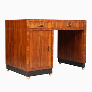 Art Deco Italian Walnut Desk by Gaetano Borsani, 1930s