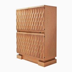 Vintage Brutalist Oak Bar Cabinet from De Coene