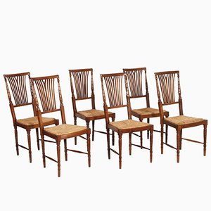 Mid-Century Walnut & Straw Chiavari Chairs, Set of 6