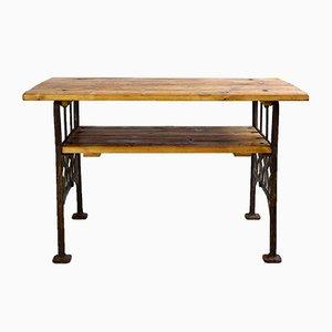 Tavolino industriale con gambe in ghisa, anni '30
