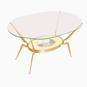 Mid-Century Coffee Table in Gilt Brass by Cesare Lacca, 1950s