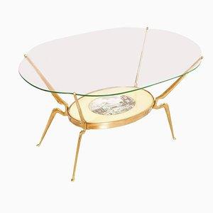 Table Basse Mid-Century en Laiton Doré par Cesare Lacca, 1950s