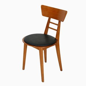 Mid-Century Modern Italian Beech & Rubber Side Chair