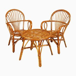 Mid-Century Bamboo and Rattan Armchairs with Coffee Table