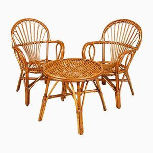 Poltrone Mid-Century in bambù e vimini con tavolino da caffè