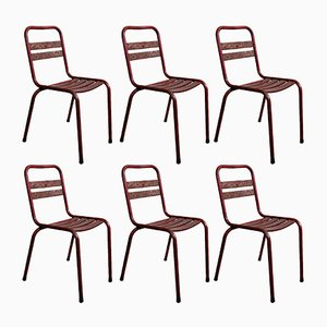 Model T2 Red Bistro Chairs from TOLIX, 1950s, Set of 6