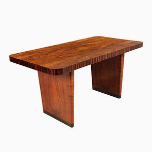 Art Deco Table in Walnut and Burl Walnut