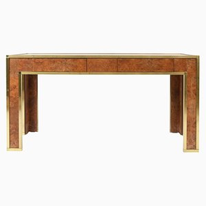 French Brass, Burr & Walnut Console Table, 1970s