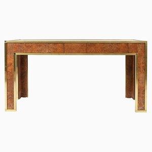 Mesa consola francesa de latón, nogal y madera nudosa, años 70