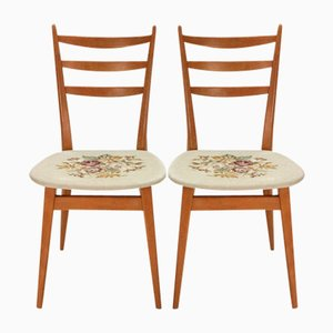 Dining Chairs with Rose Motif Seats, 1950s, Set of 2