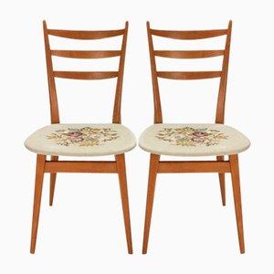 Sillas de comedor con asientos con motivo de rosas, años 50. Juego de 2