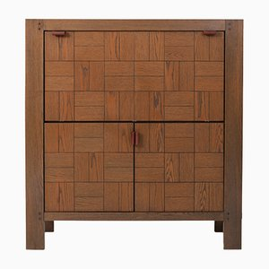 Vintage Brutalist Bar Cabinet in Stained Oak