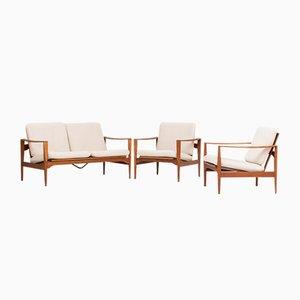 Modell EK 2-Sitzer Sofa und 2 Sessel von Illum Wikkelso für Niels Eilersen, 1960er