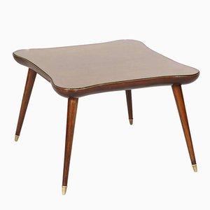 Tavolino da caffè Mid-Century in noce e vetro, anni '50