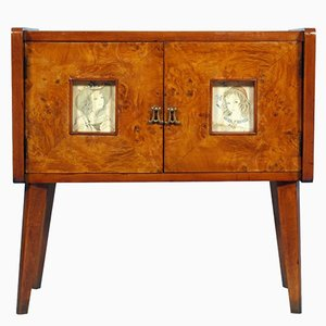 Art Deco Walnut Elm Burl Sideboard by Meroni & Fossati