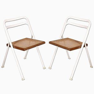 Steel, Beech & Straw Folding Chairs by Giorgio Cattelan for Cidue, 1970s, Set of 2