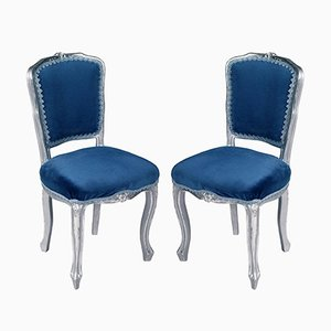 Venezianische geschnitzte Vintage Walnuss Stühle, 2er Set