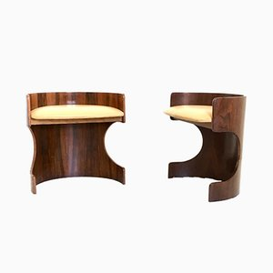 Skai & Rosewood Plywood Poufs, 1950s, Set of 2