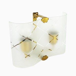 Apliques pequeños de vidrio curvado y latón, años 40. Juego de 2