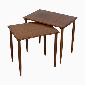 Vintage Danish Modern Teak Nesting Tables with Filigree Legs, Set of 2