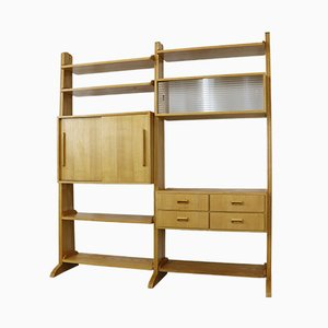 Mid-Century Ash Wood Modern Shelving Unit, 1950s