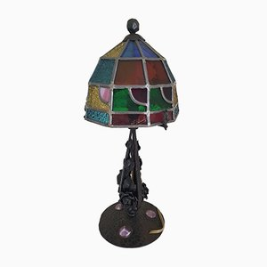 Antique Wrought Iron & Stained Glass Lamp by Augustin Louis Calmels, 1910s