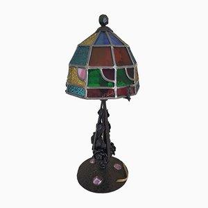 Lampe de Bureau Antique en Fer Forgé et Verre Teinté par Augustin Louis Calmels, 1910s
