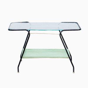 Tavolino da caffè in vetro e metallo, anni '50